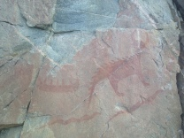 Sacred pictographs. The figure on the right is Mishipeshu.
