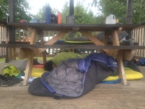 Sleeping out of the rain in White River.