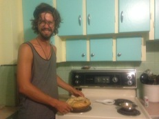 Alexis makes his famous apple pie at the hostel in Thunder Bay.